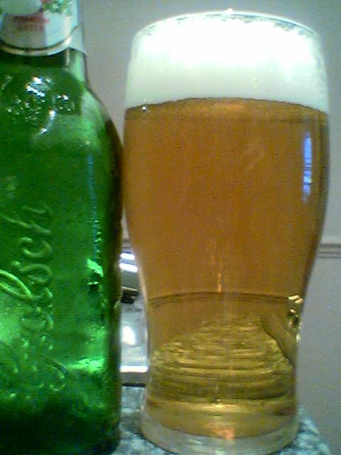 Grolsch Premium Lager poured into a glass