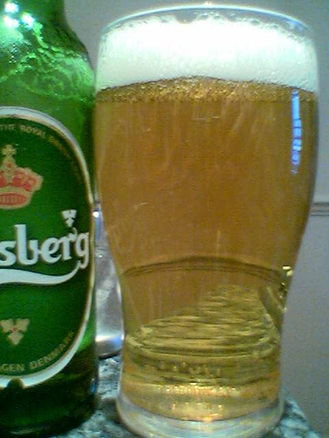 Carlsberg poured into a glass