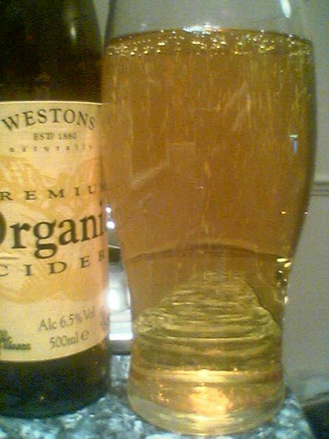Westons Premium Organic Cider poured into a glass