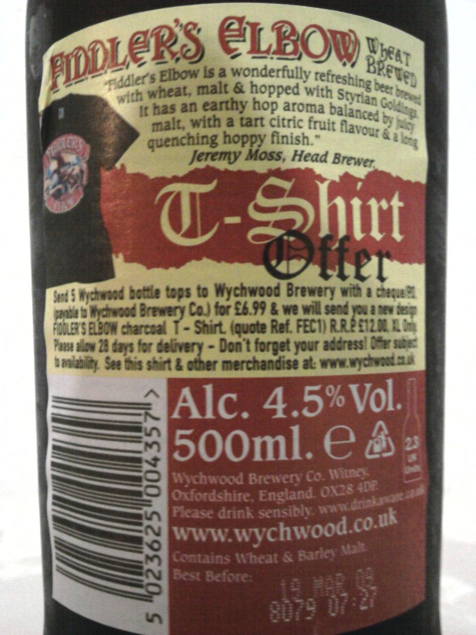 Wychwood Fiddler's Elbow back label