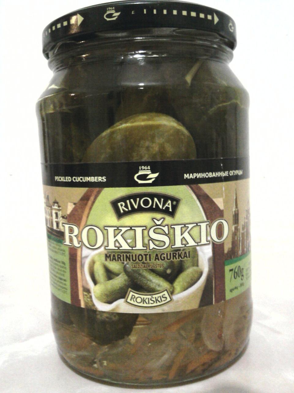 Rivona Rokiškio Marinuoti Agurkai Pickled Cucumbers jar