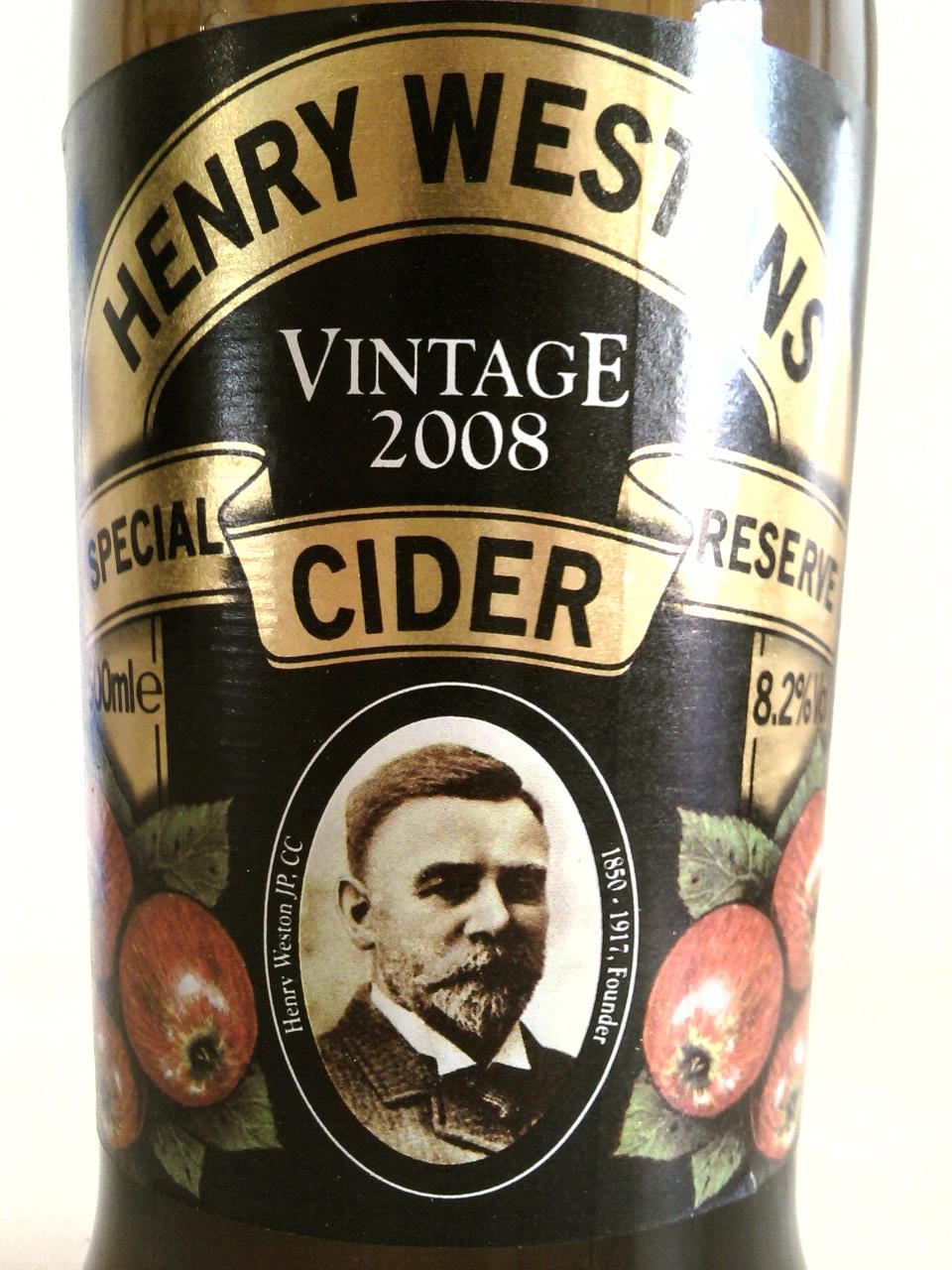 Henry Westons Vintage Special Reserve Cider front label