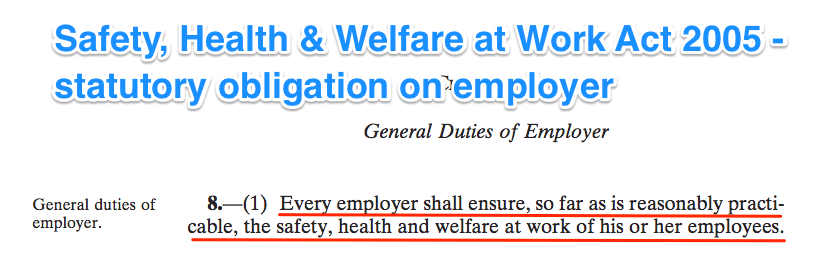 Statutory duty on employers, Safety, Health & Welfare at Work Act 2005, extent of that duty