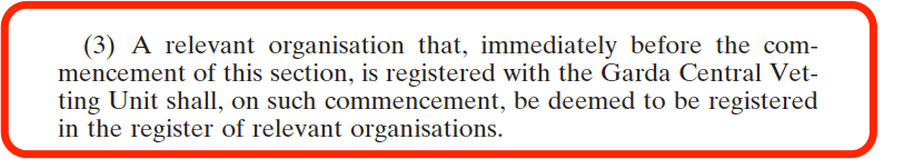 National Vetting Bureau Acts 2012 to 2016 - Organisation Registration - Transitional approval