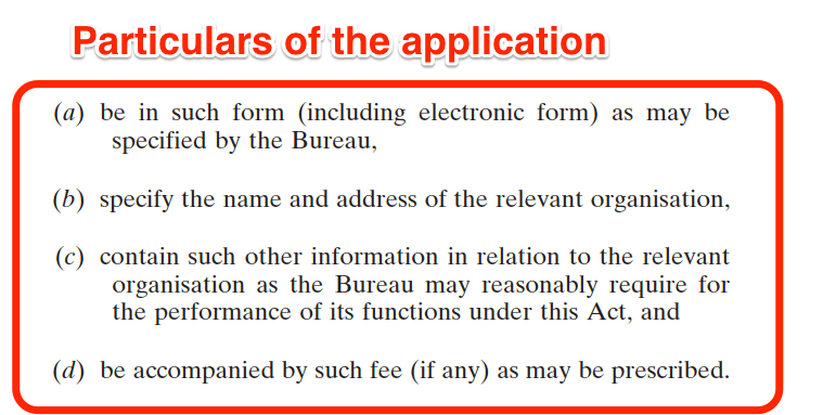 National Vetting Bureau Acts 2012 to 2016 - Organisation Registration - Particulars of the application