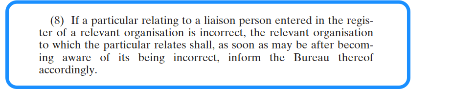 Appointing a Liaison Person - National Vetting Bureau Acts