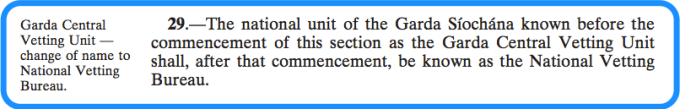 Section 29 of the National Vetting Bureau Acts 2012 to 2016