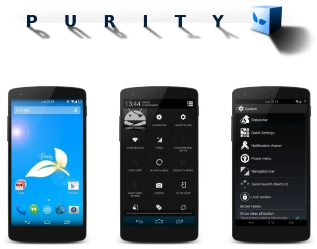 Purity ROM, derived from Android 4.4 KitKat