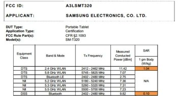 Rumored Samsung Galaxy Tab Pro 8.4 SM-T320 appears at the FCC