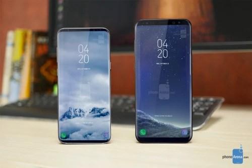 Galaxy S9 concept (left) next to a Galaxy S8+