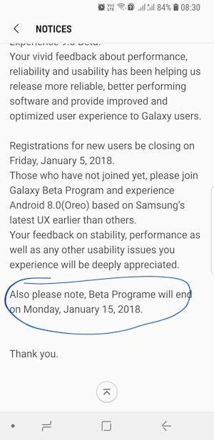 Galaxy S8 Android 8.0 Oreo beta program ends January 15th, public update could roll by end of January