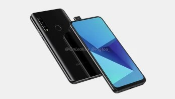 This render allegedly shows a Samsung Galaxy A mid-ranger with a pop-up selfie camera - Renders allegedly reveal Samsung's first phone with a pop-up camera; 5G support not clear