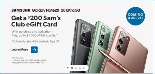 Note 20 deal at Sam's Club - The best Galaxy Note 20 Ultra 5G and Note 20 deals and prices at Verizon, T-Mobile, AT&T, or Best Buy