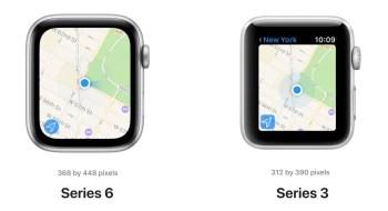 Apple Watch Series 6 vs Series 3 display size comparison - Apple Watch Series 6 vs Apple Watch Series 3