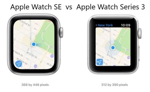 Display resolution; Apple Watch SE 44mm vs Apple Watch Series 3 42mm - Apple Watch SE vs Apple Watch Series 3