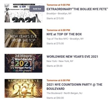 A similar service called Eventbrite lists hundreds of New Years Eve parties - the measures Apple has taken may have saved many from contracting COVID-19