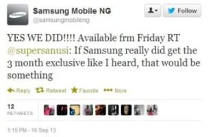Tweet da Samsung Nigeria conferma esclusivo mesi del OEM tre con BBM