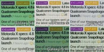 三星Galaxy S4与其他五款主流手机屏幕对比