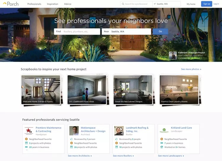 porch screenshot homepage