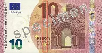 reproduction partielle du nouveau billet spécimen de 10 euros qui sera en mis en