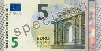 reproduction partielle du nouveau billet spécimen de 5 euros.