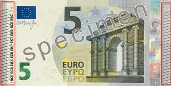 représentation partielle du nouveau billet spécimen de 5 euros avec un zoom sur