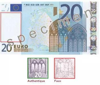 reproduction partielle de billet spécimen de 20 euros et un exemple de