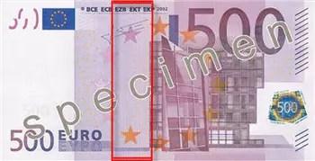 reproduction partielle de billet spécimen de 500 euros.