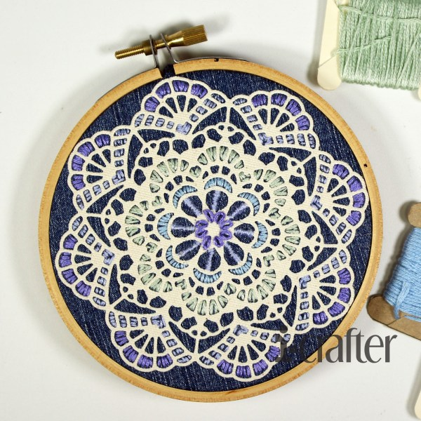 Doily embroidery fiber art