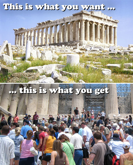 Overcrowded Tourist Destinations Crowded Acropolis