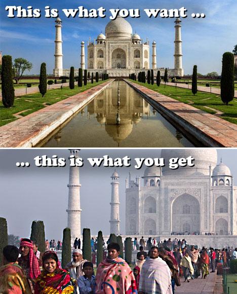 Overcrowded Tourist Destinations Crowded Taj Mahal