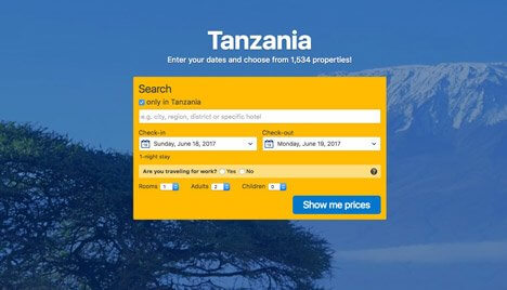 Book a hotel in the Arusha Region of Tanzania