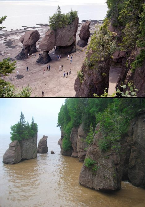 Canada: Hopewell Rocks at low tide and high tide.