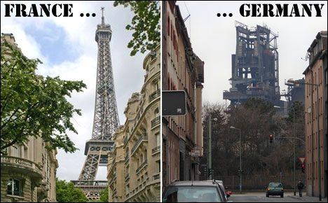 French steel structure in Paris vs. German steel structure in Duisburg.