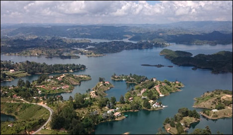 Guatape Lagoon. View from the top of the Rock of Guatape, Colombia.