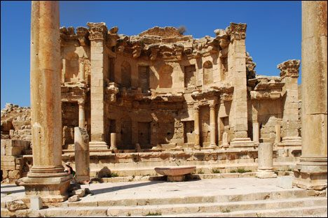 Machaerus - a fortified hilltop palace from the Roman Empire. It's located 15 miles southeast of the mouth of the Jordan river, eastside of the Dead Sea.