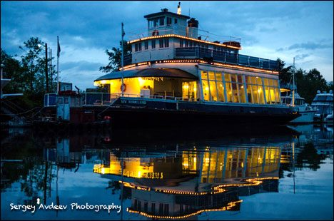 MV Kirkland at night on the Columbia River