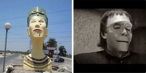 Nefertiti Bust compared with Frankenstein