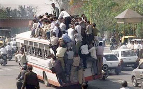 Overcrowded bus in Bangladesh