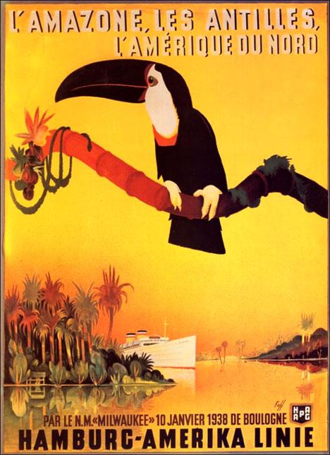 Vintage tourist poster Hamburg Amerika Linie 1938