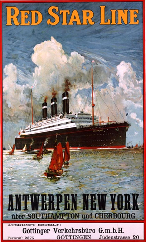 Vintage Tourist Poster - Red Star Line Antwerpen - New York