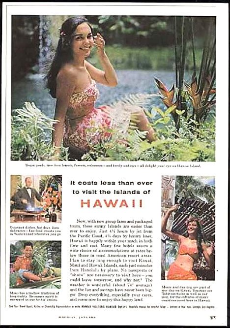 Vintage tourist poster Hawaii United States