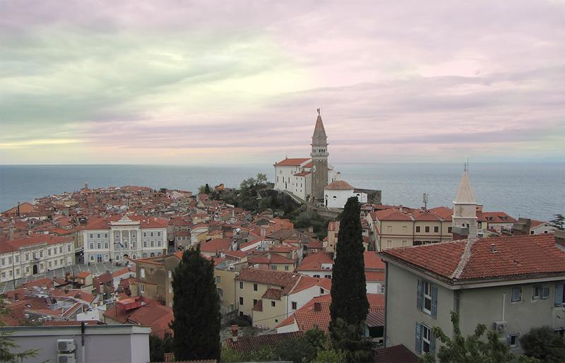 Hidden Tourist spot Piran Slovenia, sunset