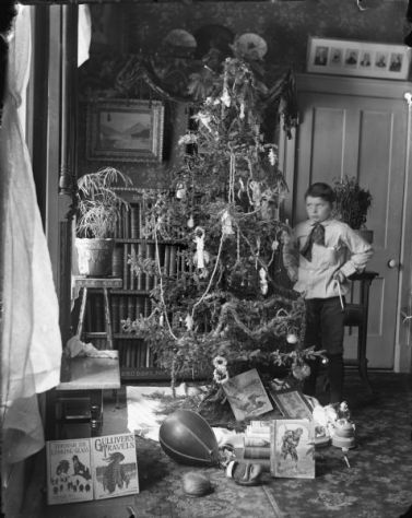 Syl with Christmas Tree | Photograph | Wisconsin Historical Society