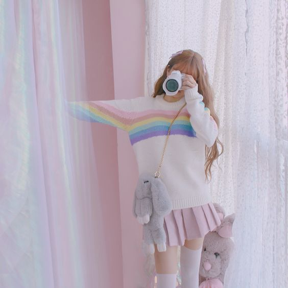 Cute Japanese Fashion Knit Sweater on Mori Girl の森ガール.Custom Rainbow Contrast Color Knit Sweater Vintage Harajuku Mg635 The unique design,full of young vitality and glamour.