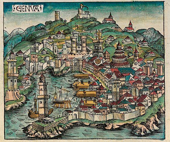 Торговый порт Италии - Генуя, гравюра 1493 г.