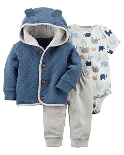 Beautiful Carter's Baby Boys' 3 Piece Elephant Little Cardigan Set. [$34.97] offerdressforyou from top store