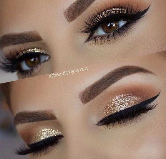 Gold Sparkly Holiday Makeup Ideas#Makeup#Musely#Tip