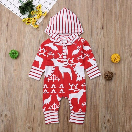 2019 Baby Christmas Hooded Jumpsuit