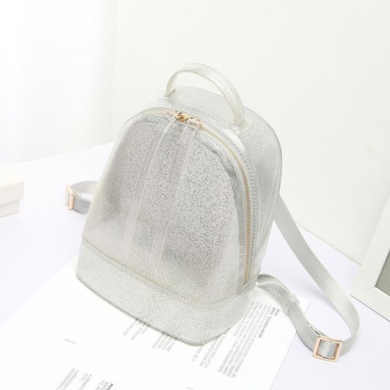 Silver Backpack Cute Clear Jelly Bags #outfitoftheday #lookoftheday #fashionblogger #photooftheday #whatiwore #picoftheday #ootd #ootdsubmit #ootdmagazine #onlineshop #shopgirlla #shopmycloset #instashop #instasale #instacloset #clothesforsale #girlgaze #vintageclothes #whowhatwearing #pvc #bucketbag #clearbagtrend #pvcbag #pvcbagtrend #clearbag #clearpurse #handbag #handbagaddict #purseaddict #bagtrendy #bagtrends #chainbag #summerstyle #beachbag